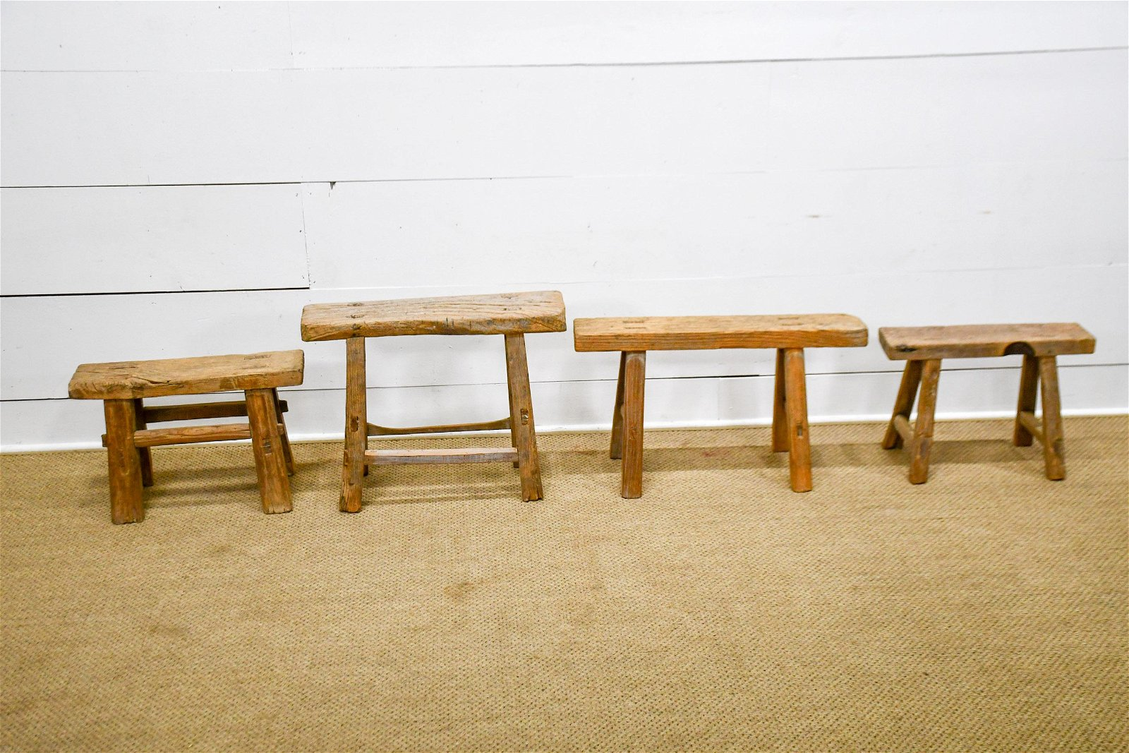 """4pc. Lot of Rustic Mortised Stools largest  -   19""""H,"""