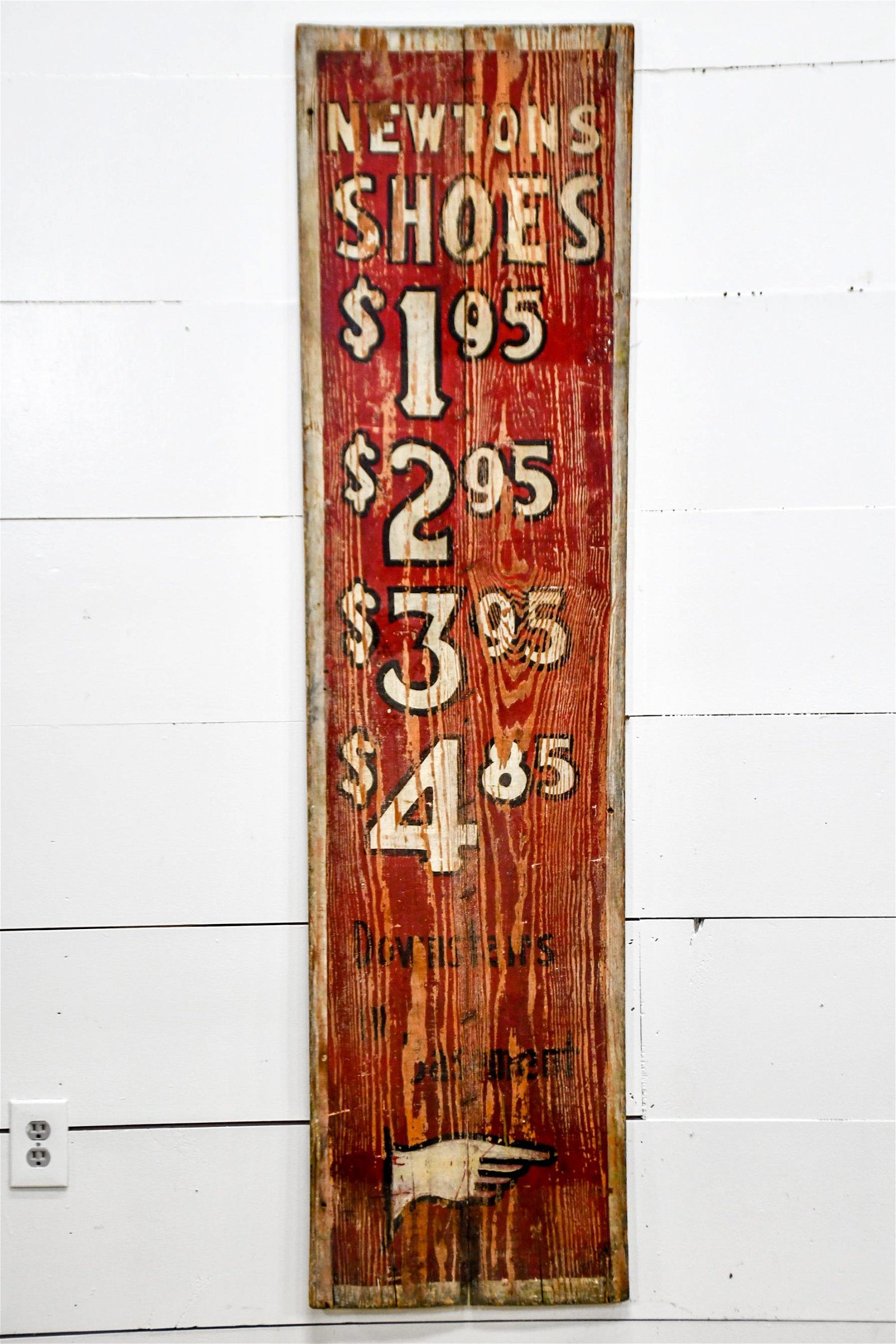 """Newton's Shoes Sign   -   wood 69""""  x   17 1/2"""""""