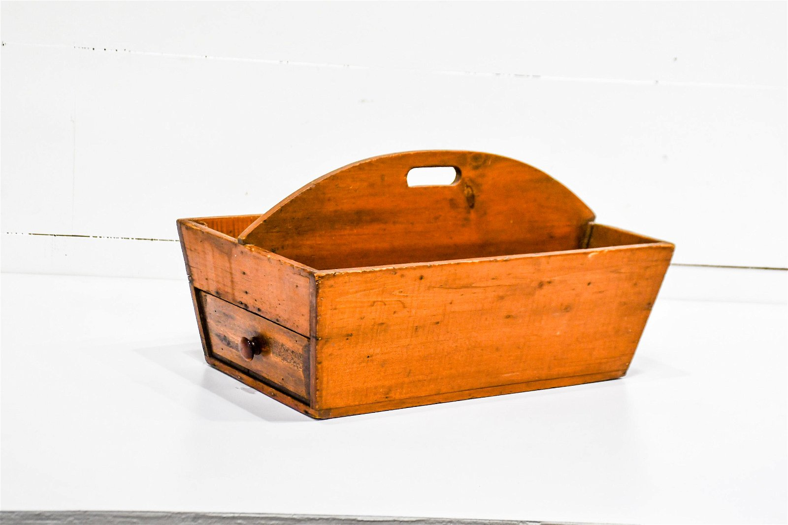 """Early Wooden Tote w/ Drawer 12""""H,   22""""  x   13"""""""