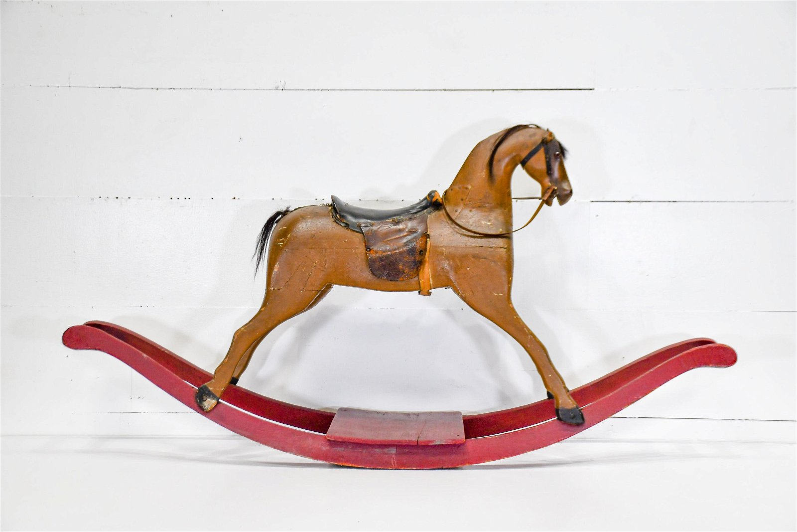 """Child's Painted Rocking Horse 32 1/2""""H,   64""""  x   13"""