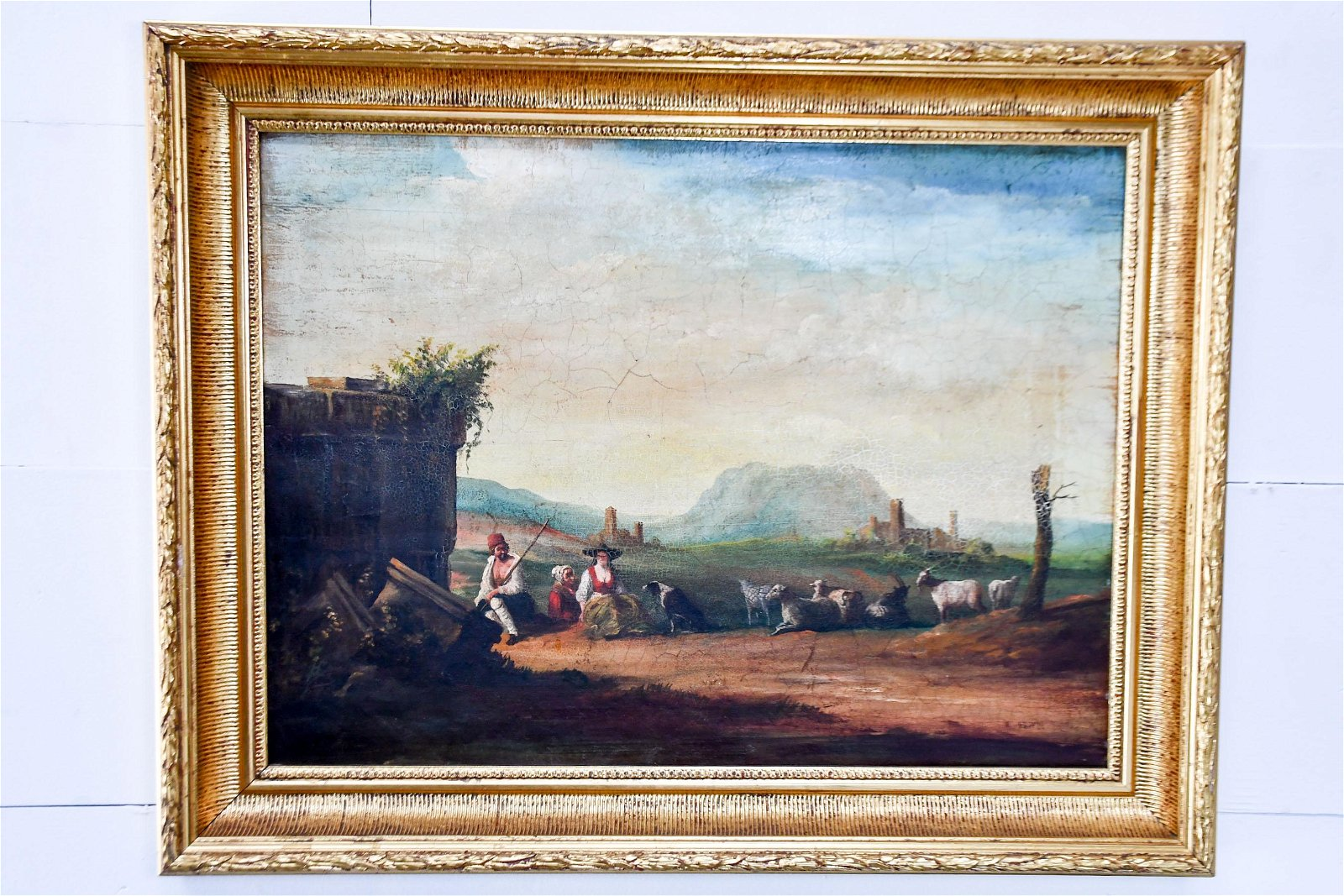 """French Oil on Board Painting - Farm Scene 27""""  x   34"""