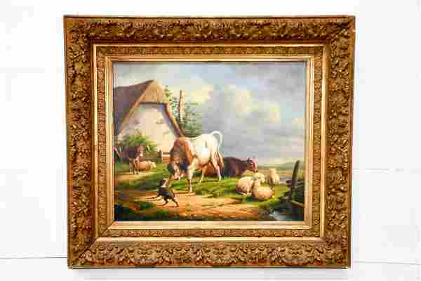 """French Oil on Canvas Painting - Farm Scene 29"""" x 33"""""""