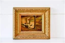 """19th C. Oil on Canvas Painting - Sheep in Barn 13 3/4"""""""