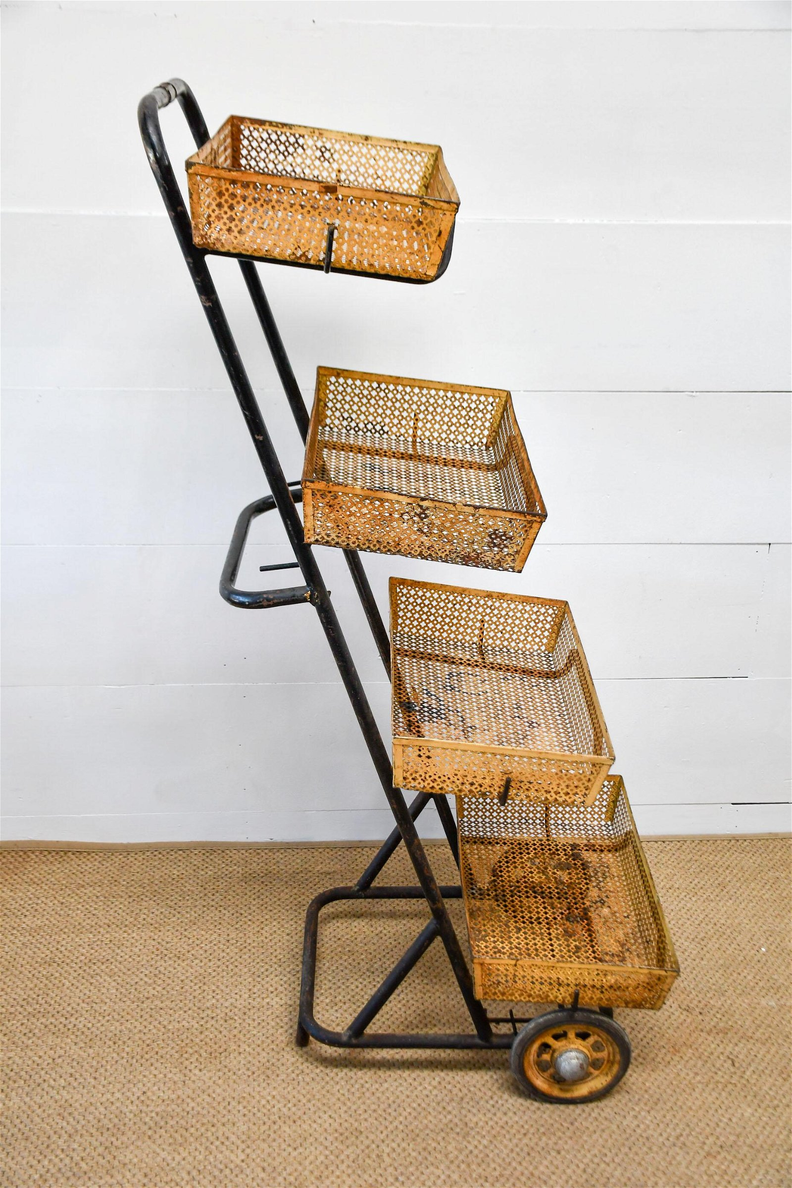 "French Store Display Rack w/ Baskets marked Paris 57""H,"