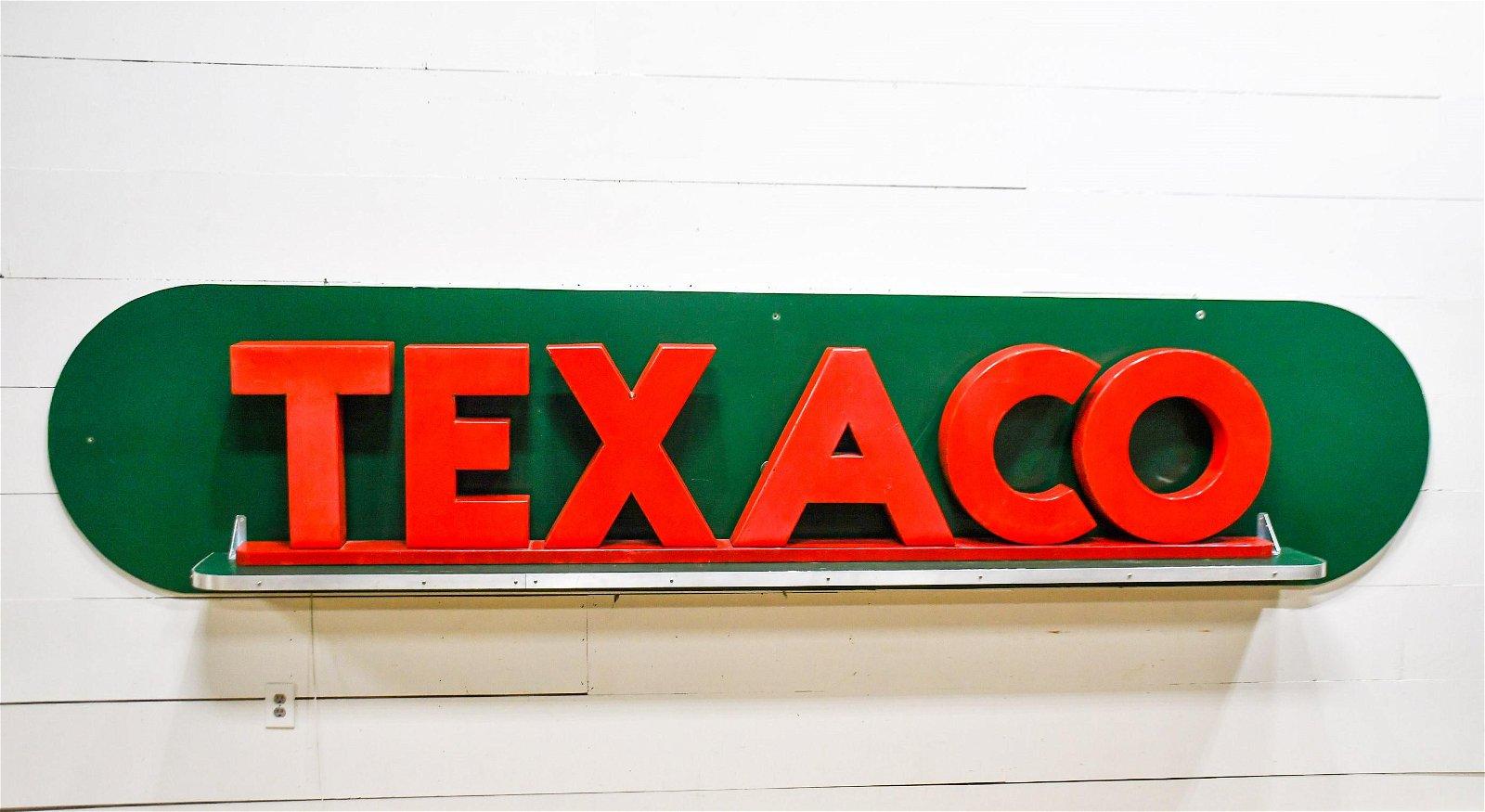 "Texaco Sign - Porcelain on Wood Frame 33""H,   153 1/2"""