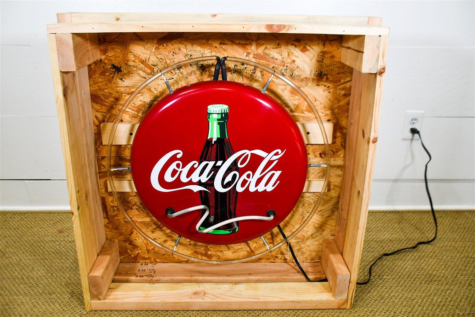 "Neon Coca - Cola Sign in Crate  -  works 24"" diam."