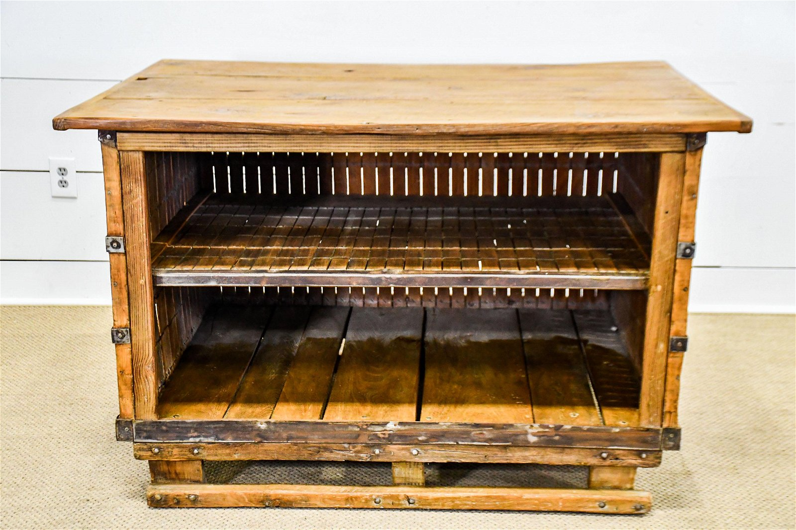 """Industrial Wooden Work Counter 33 1/2""""H,   52""""  x   37"""""""