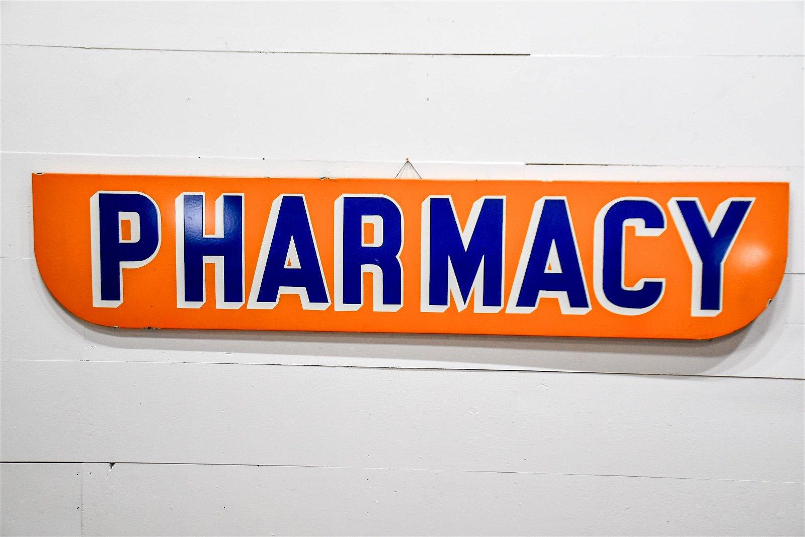 "Pharmacy Sign  -   porcelain 16 1/2""  x   80"""