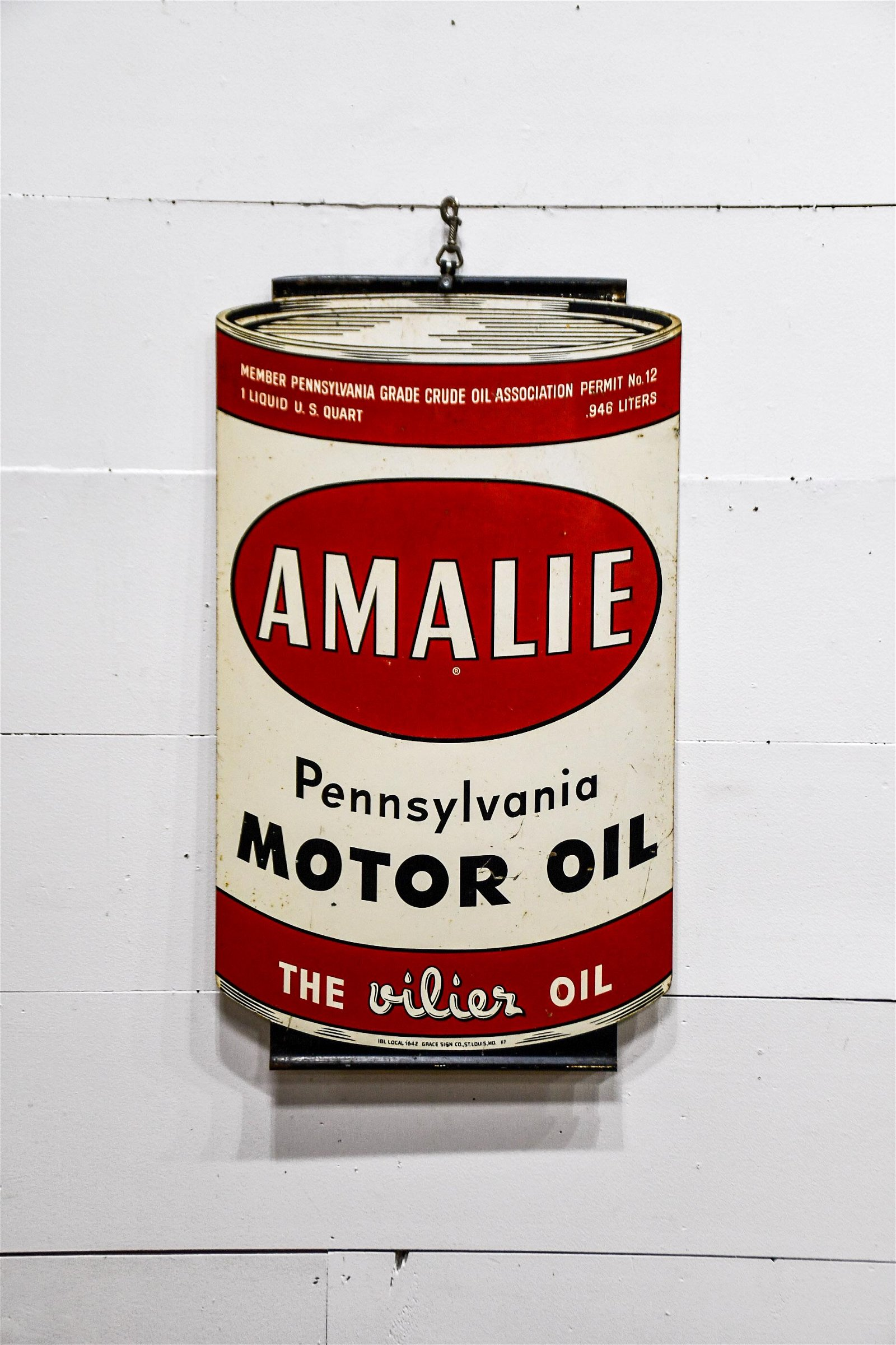 "Amalie Motor Oil Sign  -  metal / double sided 34"","