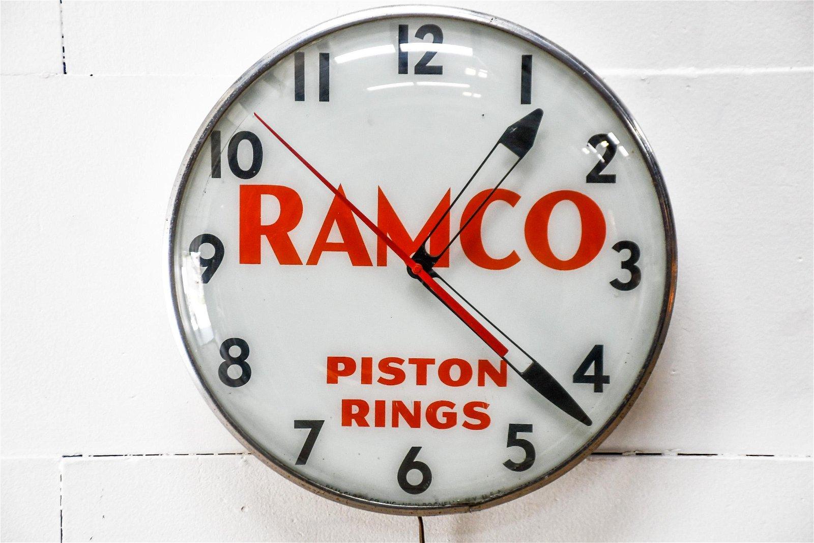 "Ramco Piston Rings Advertising Clock - works 15"" diam."