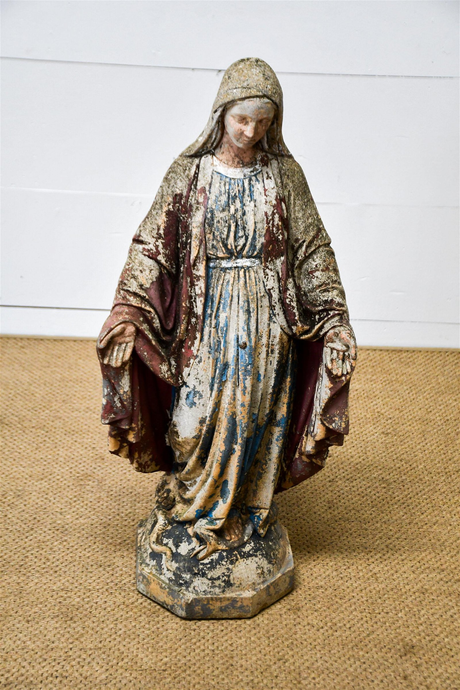 "Concrete Mary Garden Statue - great patina 36""H,   16"""