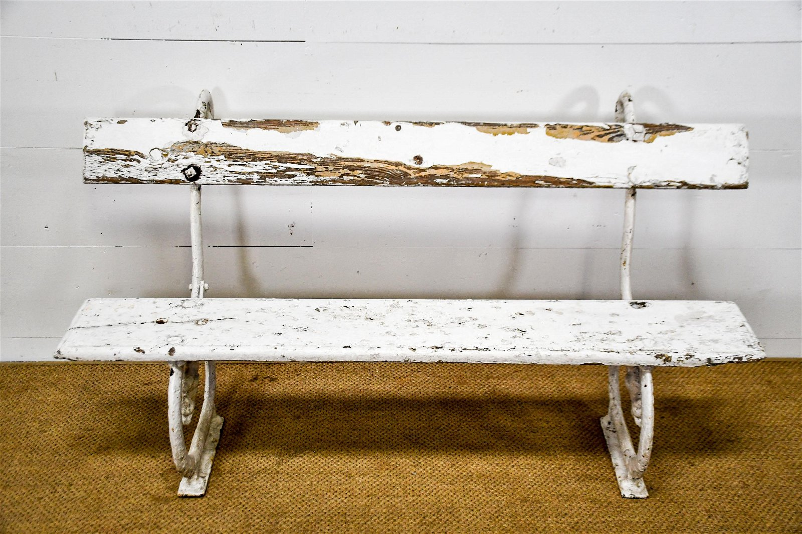 """Painted Wood and Metal Park Bench 33 1/2""""H,   62""""  x"""