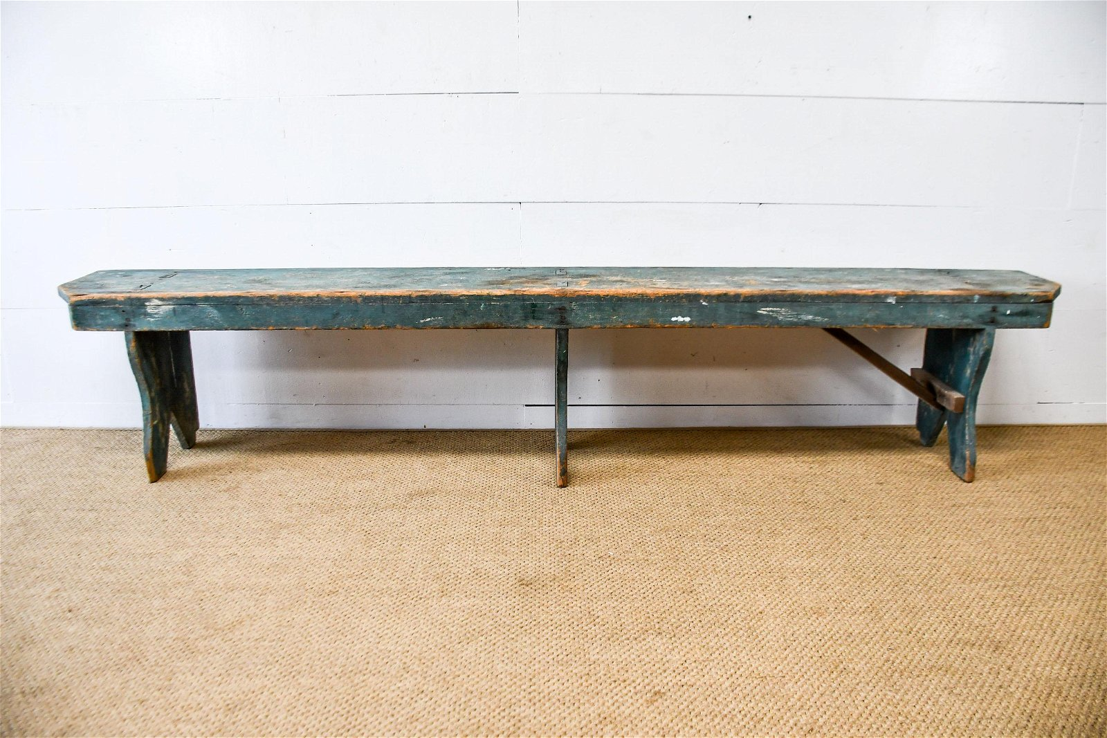 """Pa. Painted Mortised Bench 19""""H,   99 1/2""""  x   14"""""""