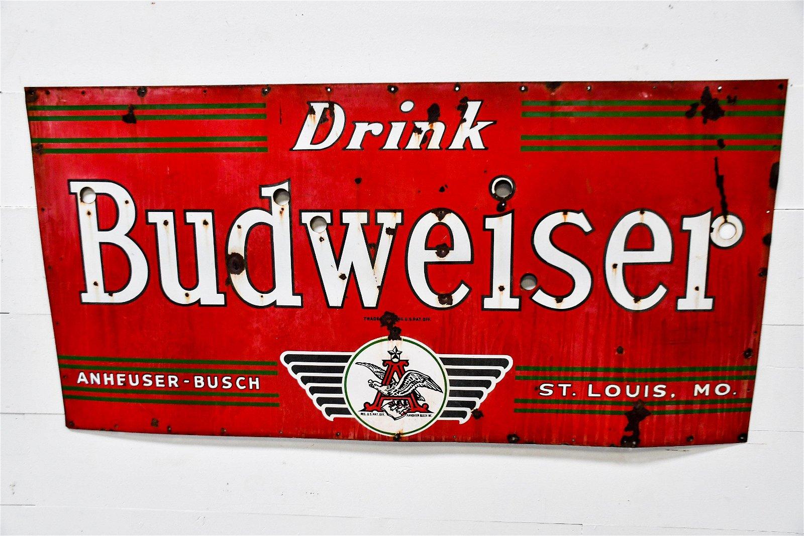 """Budweiser Sign  -   porcelain 36""""  x   72"""""""