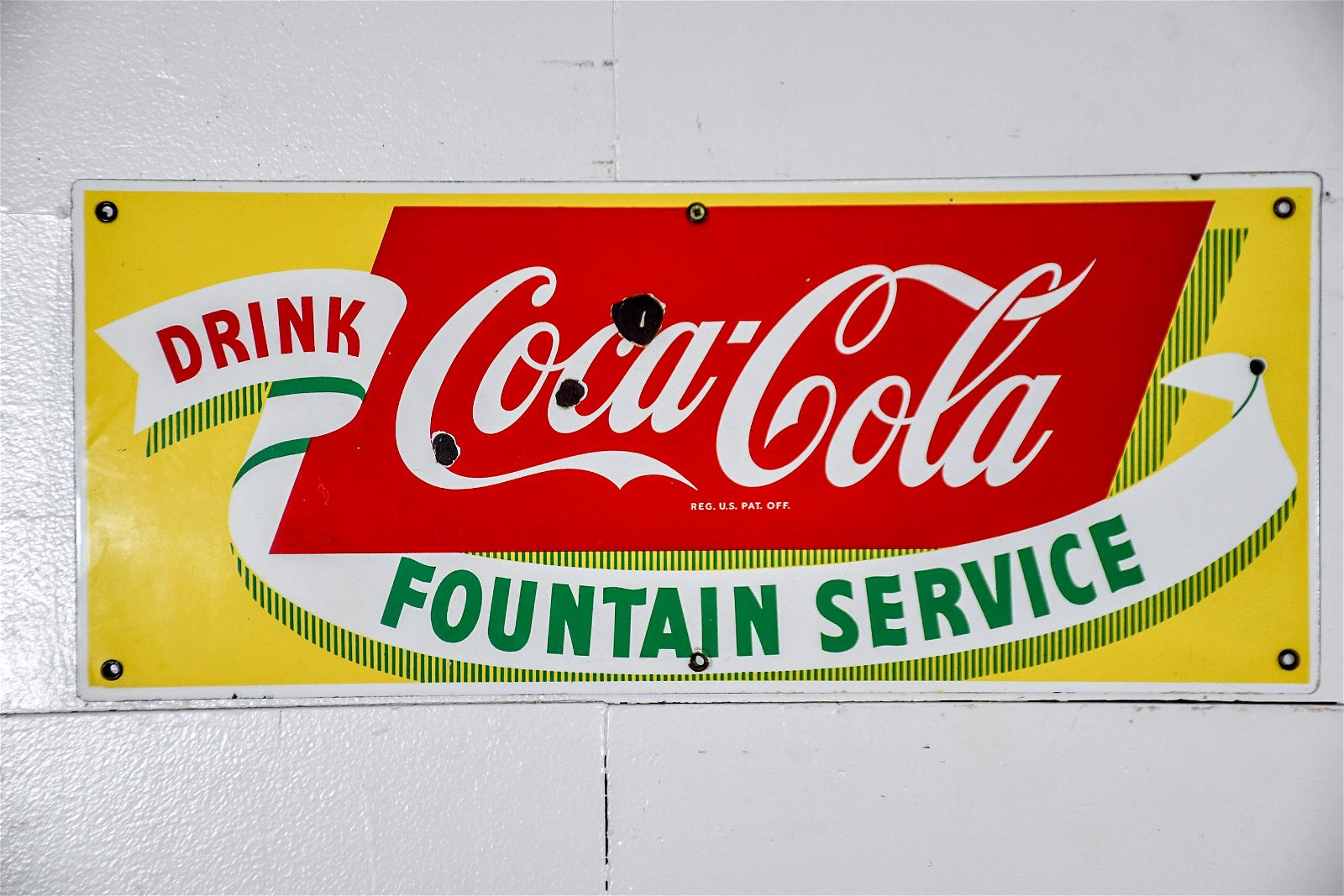 Coca - Cola Fountain Service Sign   -   porcelain 11