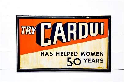 """Try Cardui Sign    -   porcelain 36""""  x   60"""""""