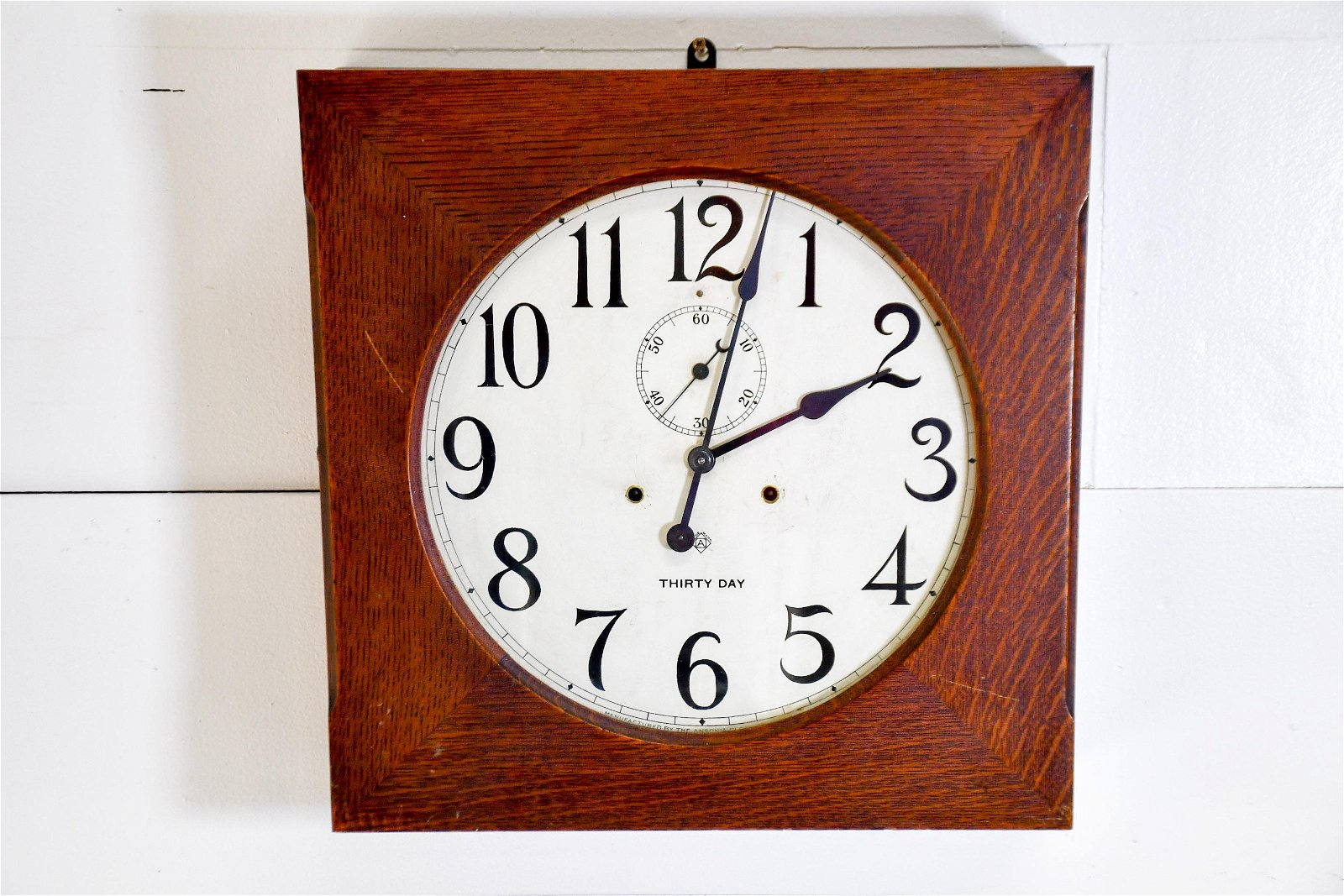 "Ansonia Thirty Day Clock w/ Key 19""H,   19""  x   5"""