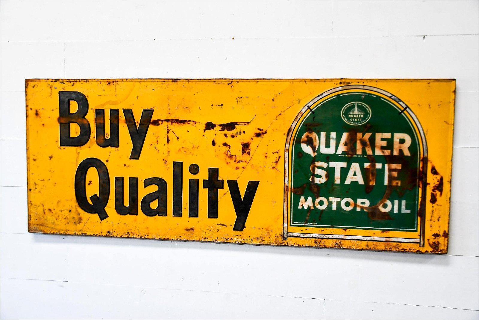 "Quaker State Motor Oil Sign  -  metal 36""  x   94"""