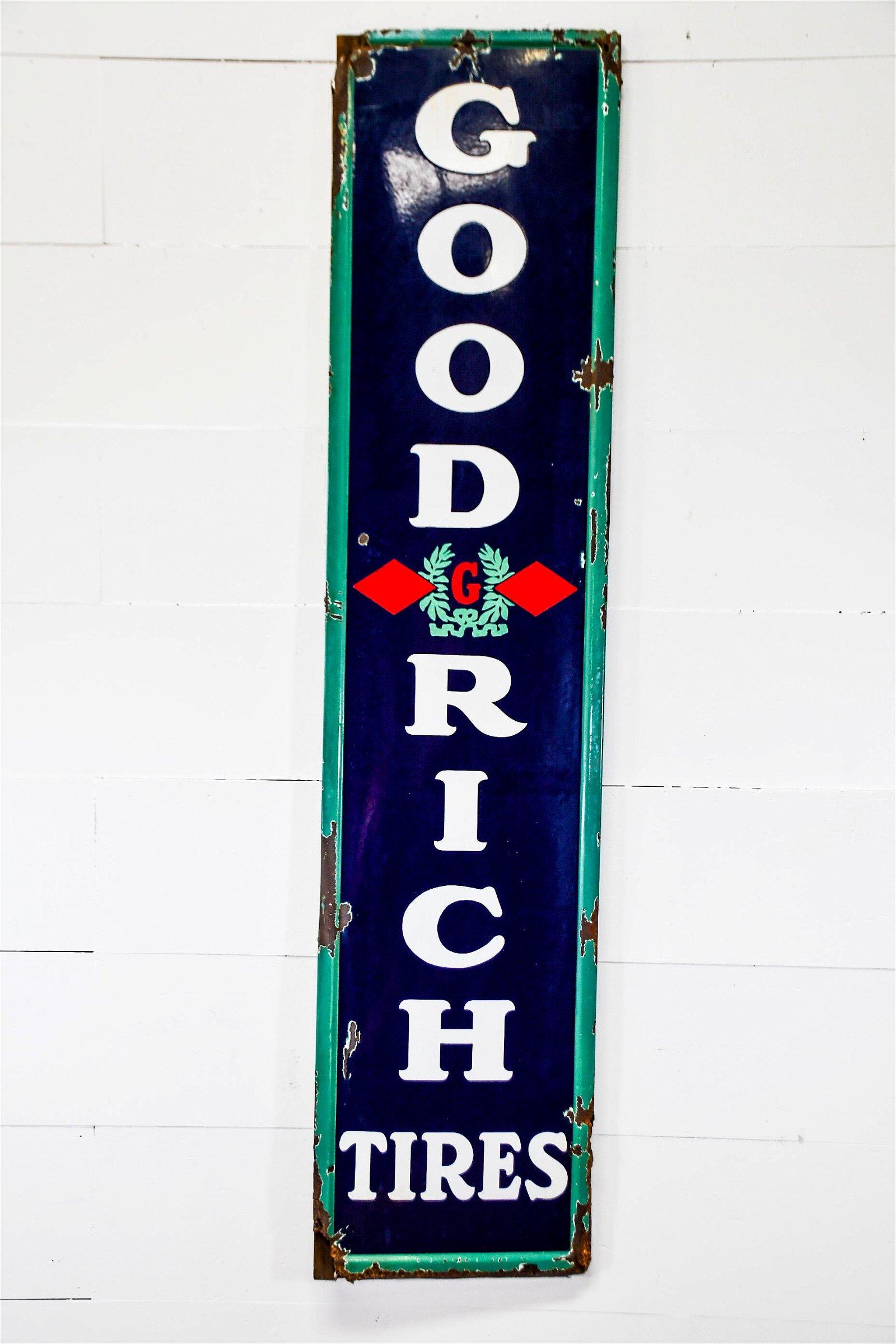 "Goodrich Tires Sign   -    porcelain 78""  x   18"""