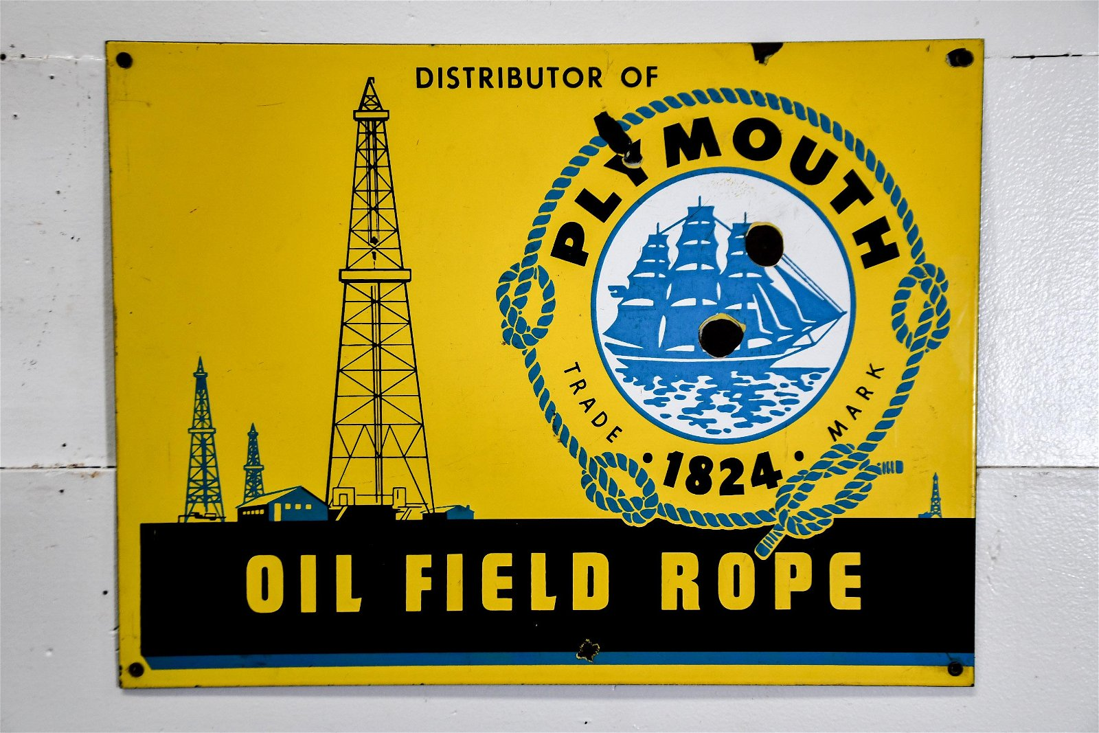 """Plymouth Rope Sign    -    porcelain 18""""  x   24"""""""