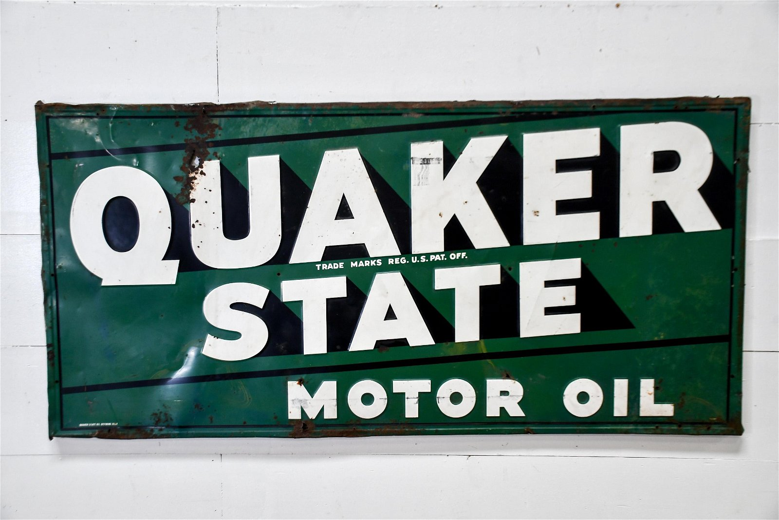 "Quaker State Motor Oil Sign   -   metal 34""  x   69"