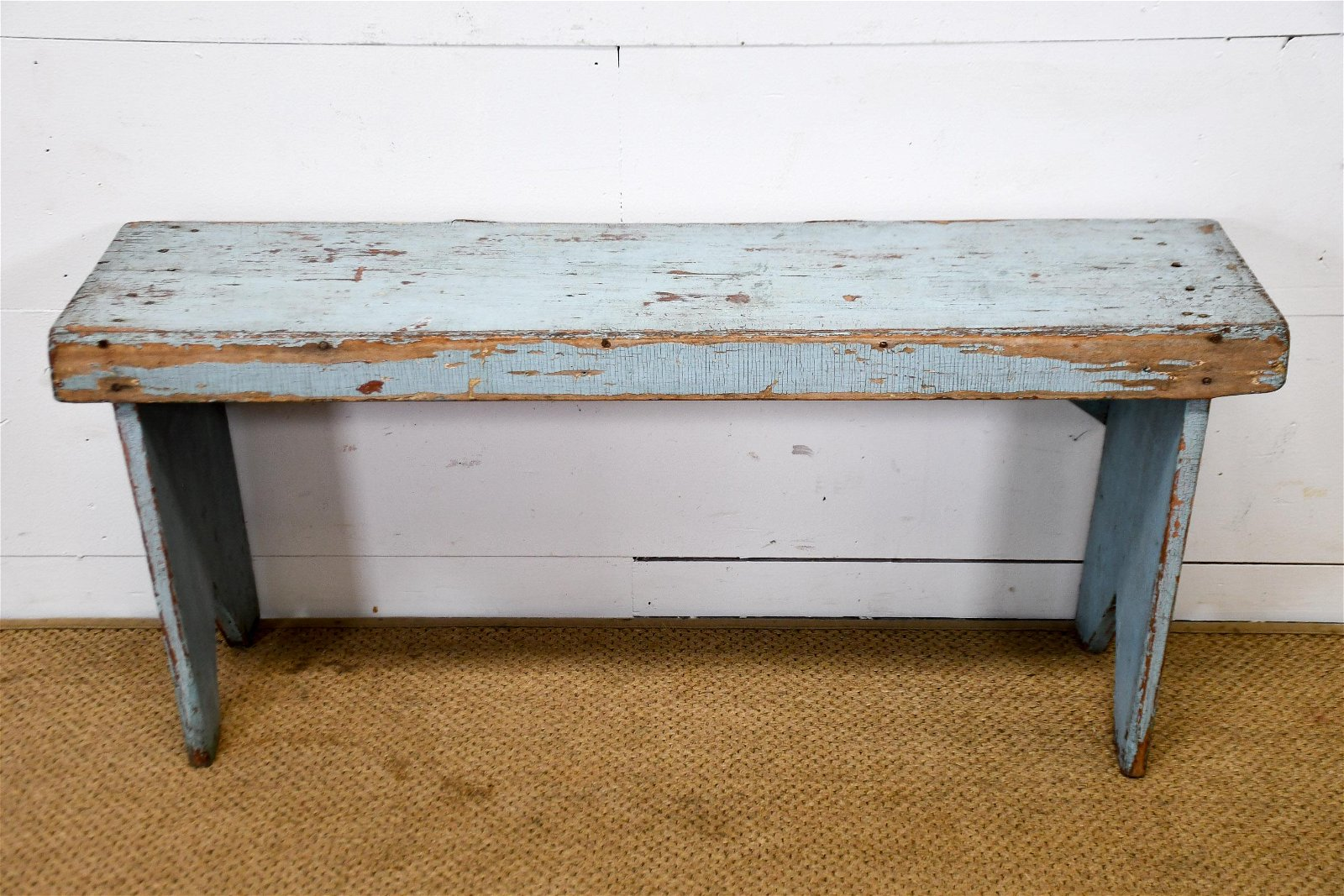 """Pa. Blue Painted Bench 18""""H,   43 1/2""""  x   12"""""""