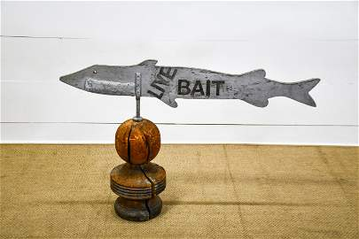 """Wooden """"Live Bait"""" Sign on Finial 33""""H,   49 1/2""""  x"""
