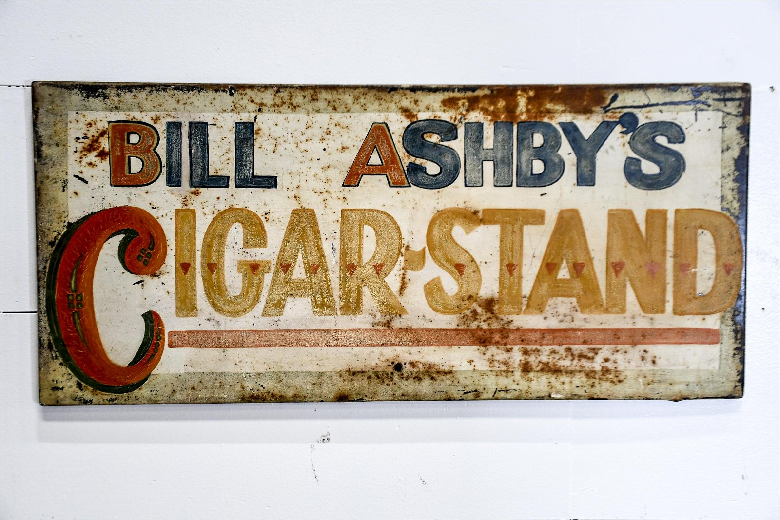 "Bill Ashby's Cigar Stand Sign   -   metal 16 1/2""  x"
