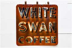 White Swan Coffee  Foods Sign metal  double sided
