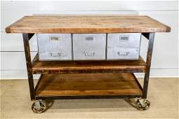 Industrial Wood and Metal Warehouse Work Table w/ metal