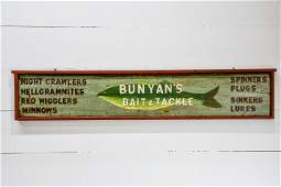 Folk Art Bait and Tackle Wooden Sign 13 12  x   70