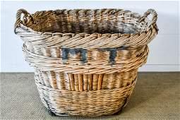 "French Champagne Grape Gathering Basket 27""H, 33 1/2"""