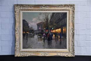 "Edouard Cortes O/C City Street Scene 27 1/2""  x   31"