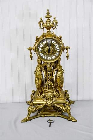 "French Clock w/ Key 24 1/2""H,   12""  x   10""(base)"