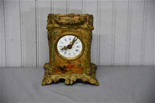 """French Mantle Clock 7""""H,   6"""" x   4""""(base)"""