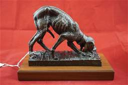 """Bronze Dog Sculpture by Jack Bryant """"Left Overs"""""""