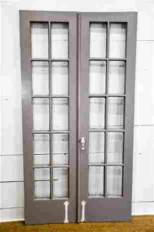 "Pair of Painted French Doors 84""  x   22""      ea."