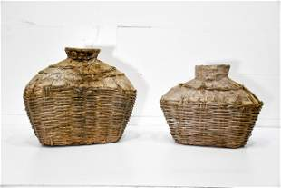 """2pc. Lot of Early Fish Gathering Baskets 19 1/2""""H,"""