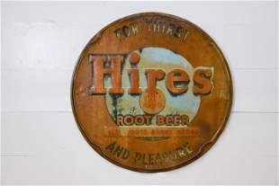 "Hires Root Beer Sign - metal 41 1/2"" diam."