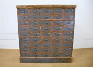 """Industrial Painted Numbered Printer's Cabinet 68 1/2""""H,"""