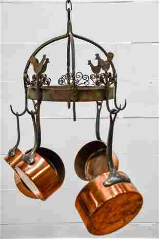 """French Wrought Iron Pot Rack w/ 5 Copper Pans 14""""H,"""