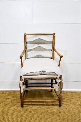 "Early Swedish Armchair w/ Cushion 35""H, 21"" x 19"""