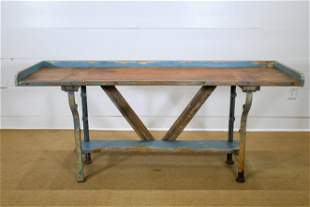 """Industrial Painted Wood and Metal Work Table 32""""H, 70"""
