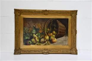 O/C Stillife With Basket and Fruit artist - Henri