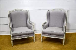 """Pair of French Upholstered Arm Chairs 42""""H, 30"""" x"""