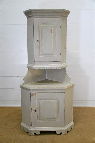 "19th C. Swedish Painted 2pc. Corner Cupboard 78""H,"
