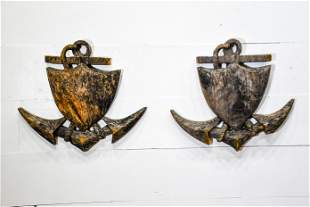 """Pair of Carved Wooden Anchor Wall Plaques 23"""" x 26"""""""