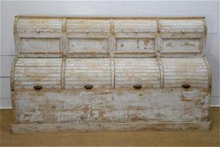 """19th C. French Painted General Store Bin 49""""H, 86"""" x"""