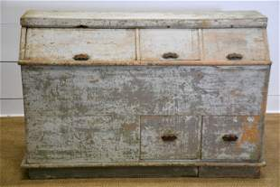 """Painted Country Store Bin 37""""H, 55"""" x 17 1/2"""""""
