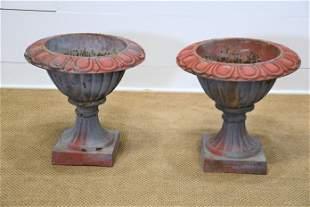 "Pair of French Cast Iron Garden Urns 19""H, 19"" diam."